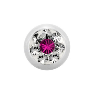Epoxy Steel SWAROVSKI Jewelled Ball - Epoxy Kristallkugel - Fuchsia FA