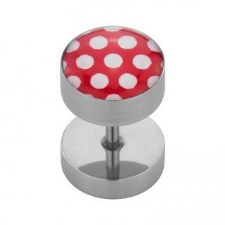 Steel Ear Fake Plug with Polka Dots - Stahl Fake Plug