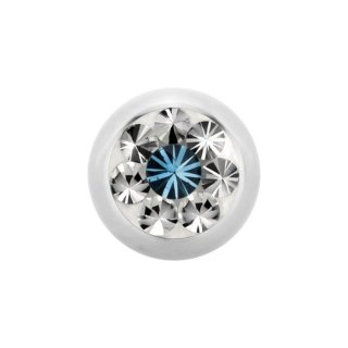Steel Epoxy SWAROVSKI Jewelled Ball - Epoxy Kristallkugel - Aquamarine AQ
