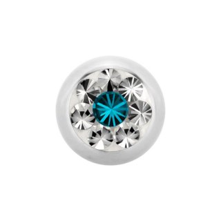 Steel Epoxy SWAROVSKI Jewelled Ball - Epoxy Kristallkugel - Blue Zircon BZ