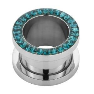 Steel Tunnel with SWAROVSKI Crystals - Blue Zircon (BZ) - SWAROVSKI Kristall Stahl Tunnel